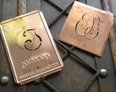 30% off --- Vintage Monogram Copper Stencil Set - OJ