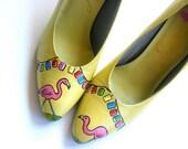Painted Shoes  Lawn Party Flamingo Pumps Size 7