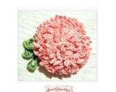 handmade flower pin pink hydrangea