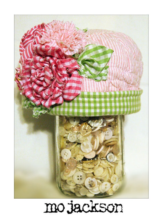 one of a kind hat out of aunt laura's vintage chenille with handmade flower bouquet