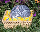 How to paint on rock a sleeping kitty - rock painting pdf tutorial