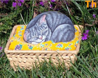 How to paint on rock a sleeping kitty - rock painting pdf tutorial in english