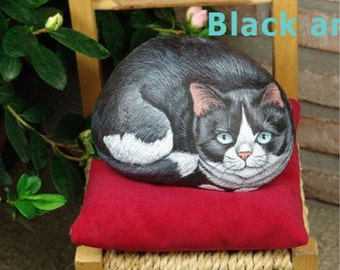 How to paint on rock a black and white cat - rock painting pdf tutorial in english