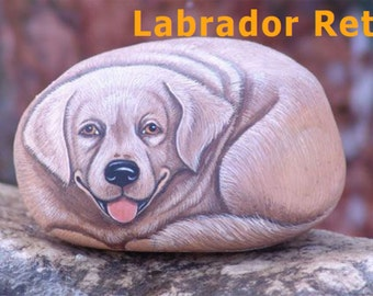 Rock Painting Tutorial - How to paint a Labrador Retriever dog on rock (english)