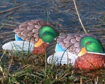 How to paint a mallard duck on rock - rock painting pdf tutorial in english