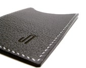 Monogrammed Charcoal Leather Card Case, Vertical, gray, personalized, card holder - sakao