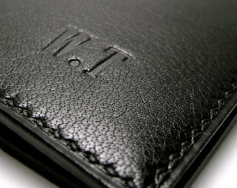 Black Leather Wallet | Luxury Leather | Personalized | monogrammed | Billfold Wallet | Hand Stitched