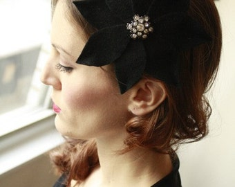 Classic Black Velour Flower Fascinator  Cocktail Hat