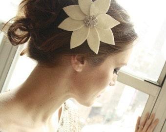 Wedding Headpiece Bridal Flower Fascinator  with Vintage Rhinestone Button