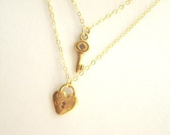 Gold Double Strand Lock and Key Necklace