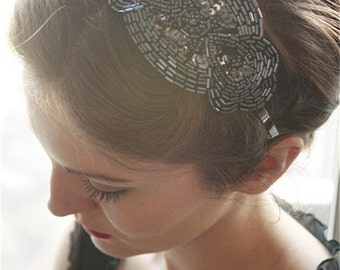 Beautiful Flapper Deco Beaded Fascinator Headband