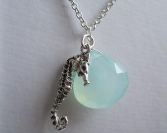 Chalcedony Seahorse Necklace...ocean lover /beach wedding