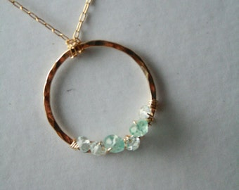 Beautiful Aquamarine and Blue Topaz Gold Cricle Necklace