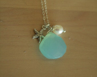 Aqua Chalcedony Necklace With Sterling Starfish, and Freshwater Pearl