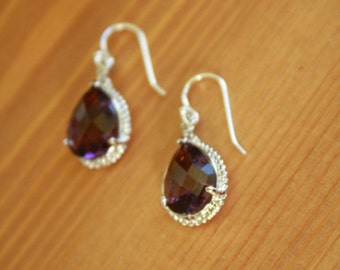 Amethyst Purple Crystal Drop Earrings on Sterling Silver