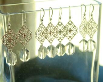 Bridesmaid Earrings.  6 Pairs Swarovksi Crystal Earrings with Silver Filigree, Bridesmaid, Wedding, Bride, Formal