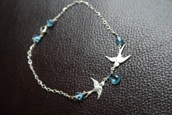 Something blue....Love bird bridal anklet with swarovski crystals and swiss blue topaz
