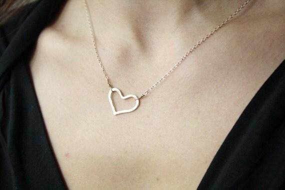 Sterling silver heart Necklace, bridesmaid, wedding, bride, love