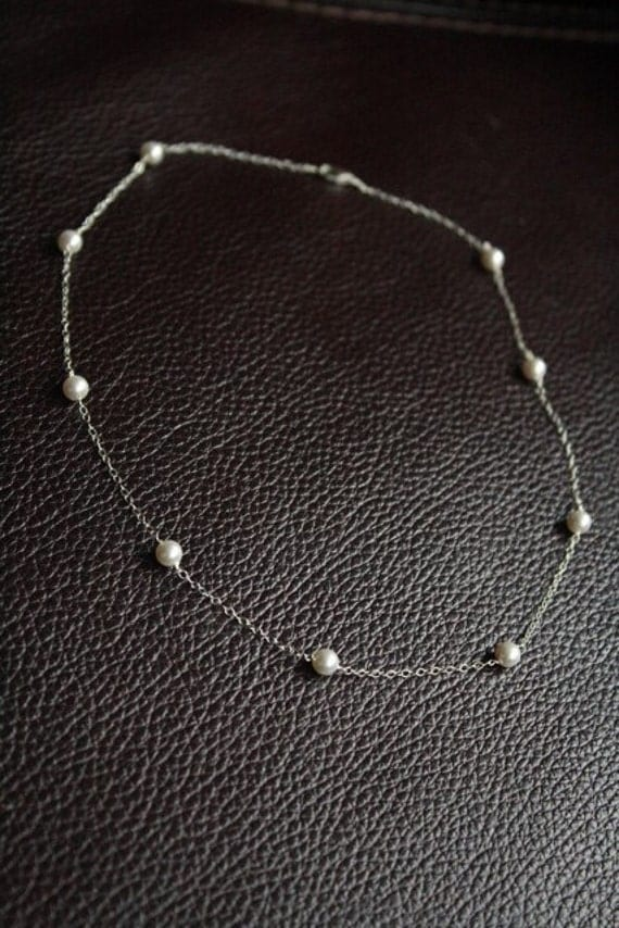 Delicate Sterling and Swarovski Tin Cup Scattered Pearl Necklace