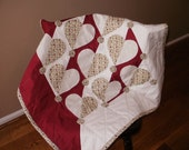 Deep Red and Ivory Hearts Baby Quilt - Clearance Sale