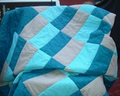 Teal and Beige Lap Quilt - Clearance Sale