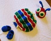 Baby Halloween costume - Newborn Halloween Costumes - Newborn Halloween costume - caterpillar hat and bodysuit only - baby photo prop