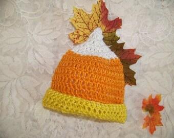 Newborn Halloween Costume - Candy Corn Hat - Crochet Halloween Hat - Toddler Halloween Hat Prop - Newborn First Halloween Hat - Halloween