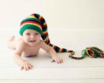 Rasta Hat - Rasta Clothing - Baby Photo Prop - Handmade Winter Hat - Newborn Photo Prop - Rasta Baby Hat - Newborn Rasta Hat - Baby Shower