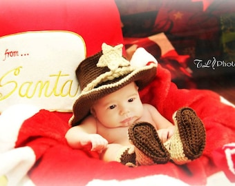 Baby Cowboy Boots - Baby Cowboy Outfit - Baby Photo Prop - Baby Cowboy Hat - Cowboy Hat And Boots - crochet cowboy hat and boots