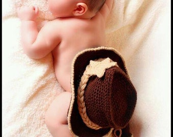 Baby Cowboy Outfit - Baby Photo Prop - Baby Cowboy Hat - Baby Cowboy Boots - Cowboy Hat And Boots - crochet cowboy hat and boots