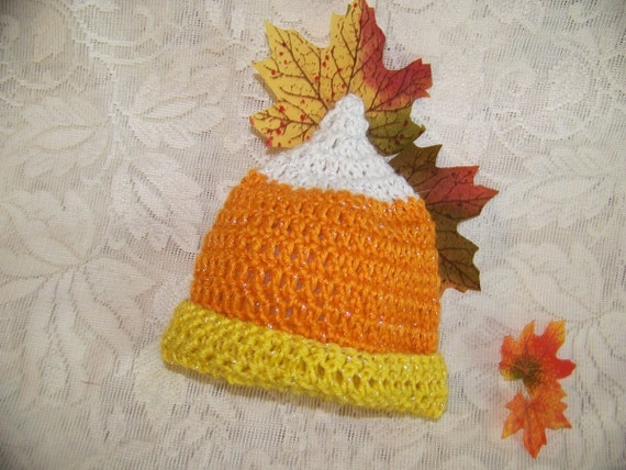 Baby Halloween Costume Hat Photo Prop Candy Corn Halloween Hat Orange Yellow White Shimmering Colors Newborn to 24 Months