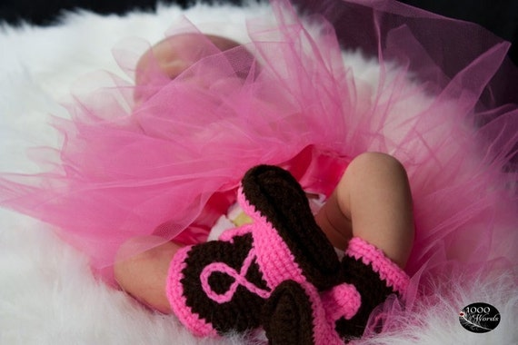 Newborn Cowboy Boots Black or Brown and Hot Pink Newborn to 12 Months