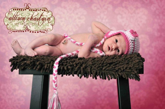 Baby Photo Props Pink Baby Hat With Layered Flower Pinks and White Newborn to Toddler Size