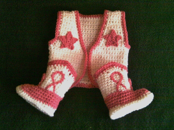 Newborn Cowgirl Boots And  Vest  Set Newborn To 12 Months You Pick The Size And Colors