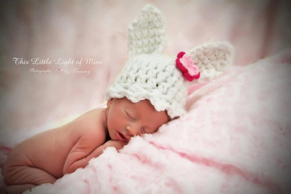 Baby Rabbit Hat Sizes Between Newborn To 24 months You Pick The Colors And Size