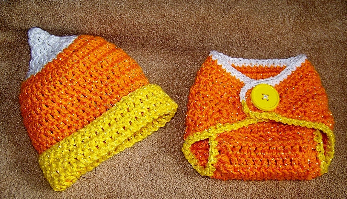 Baby Halloween Costume Photo Prop Candy Corn Hat and Diaper
