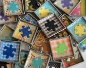 Puzzle Piece Autism Awareness Square Bezel Necklace