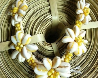 YELLOW MONGO/COWRY shell necklace
