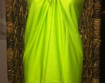 Tahitian PAREU full length LIME pareo