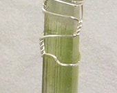 Wire Wrapped Tourmaline Stick Pendant