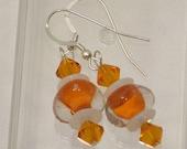 Bright Orange Glass and Swarovski Crystal Earrings.
