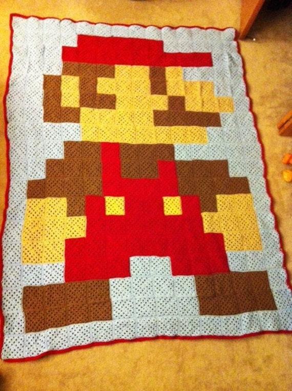 Crochet Pattern For Mario Blanket : Super Mario Bros. Crocheted Afghan