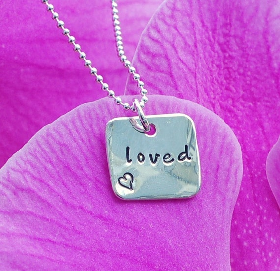 A Little Loved Square Hand Stamped Personalized Silver Necklace - Custom