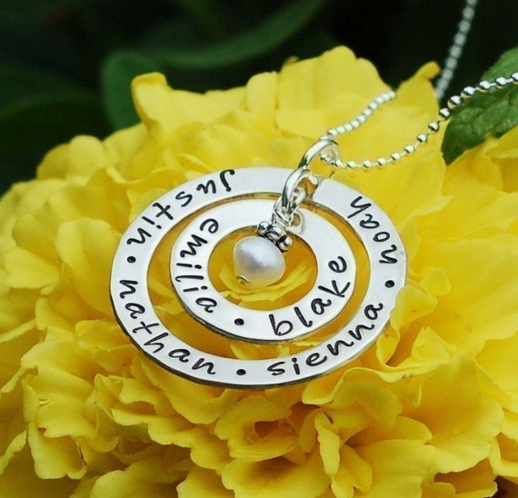 Personalized Necklace for Grandmothers and Mothers - Hand Stamped Big Family Double Loop Sterling Silver - Custom Engraved