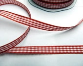 Checked/Gingham/Vichy Ribbon 3/8 inch -- Red/White -3 meters