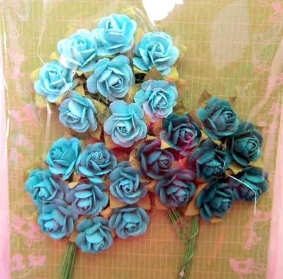 Prima Flower - Mini Rose Jewel tone Blues - Bright T