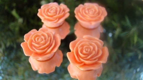 CLEARANCE 4 Absolutely Stunning Apricot Lucite Resin Rose Flower Cabochons 20mm