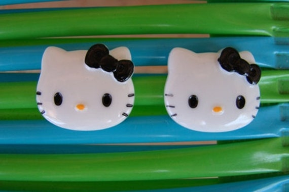 2 Large Hello Kitty Resin Decoden Flatback Cabochons 45x40mm