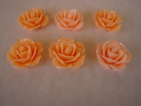 6  Gorgeous Medium Apricot or Peach Colored 18mm Resin Rose Flower Cabochons