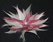 Pink feather flower, ivory pink head piece, pink fascinator, pink hair clip
